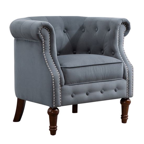 Freya Fabric Upholstered Accent Chair In Grey_3