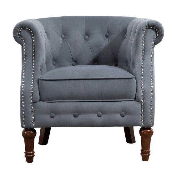 Freya Fabric Upholstered Accent Chair In Grey_4
