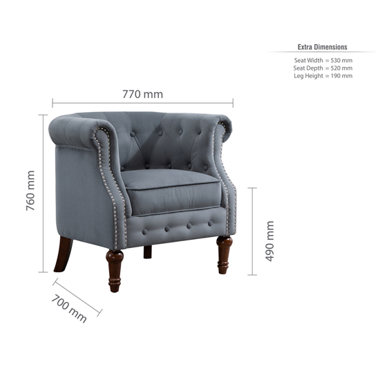 Freya Fabric Upholstered Accent Chair In Grey_5
