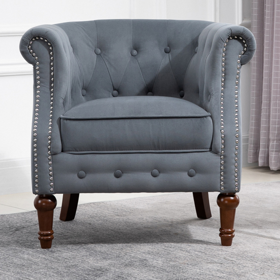 Freya Fabric Upholstered Accent Chair In Grey_1