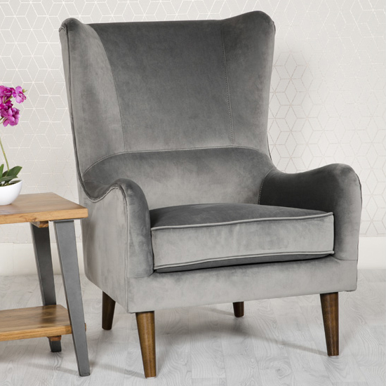 Freyton Velvet Upholstered Lounge Chair In Grey