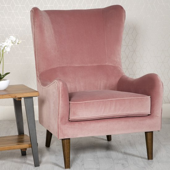 Freya Velvet Upholstered Lounge Chair In Pink