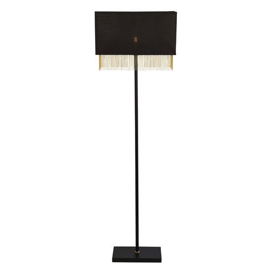 Fringe Floor Lamp In Black Shade With Gold Chain
