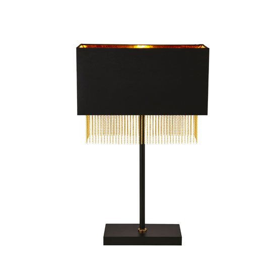 Fringe Table Lamp In Black Shade With Gold Chain