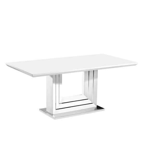 Friston Dining Table In White High Gloss With Chrome Base