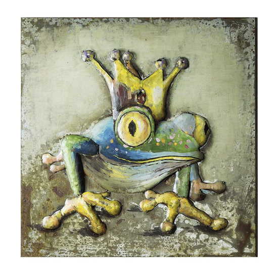 Frog 3D Picture Metal Wall Art In Multicolor