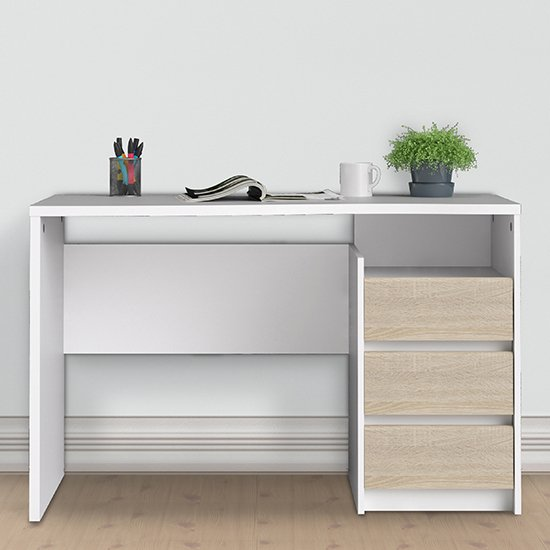 Frosk 3 Drawers Computer Desk In White And Oak