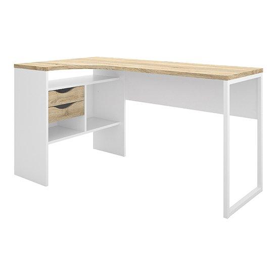Frosk Corner 2 Drawers Computer Desk In White And Oak