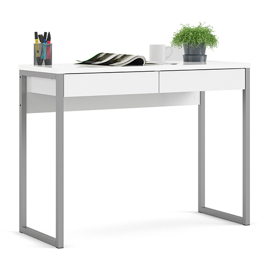 Frosk High Gloss 2 Drawers Computer Desk In White_2
