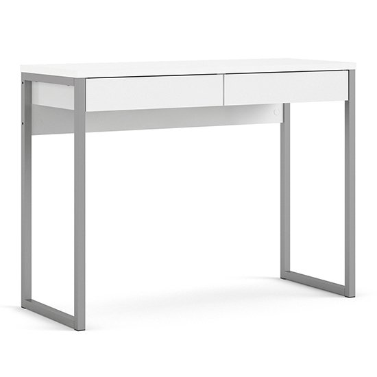 Frosk High Gloss 2 Drawers Computer Desk In White_3