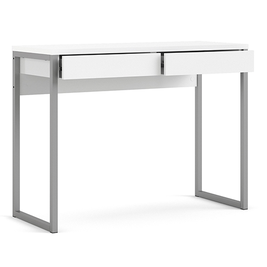 Frosk High Gloss 2 Drawers Computer Desk In White_4