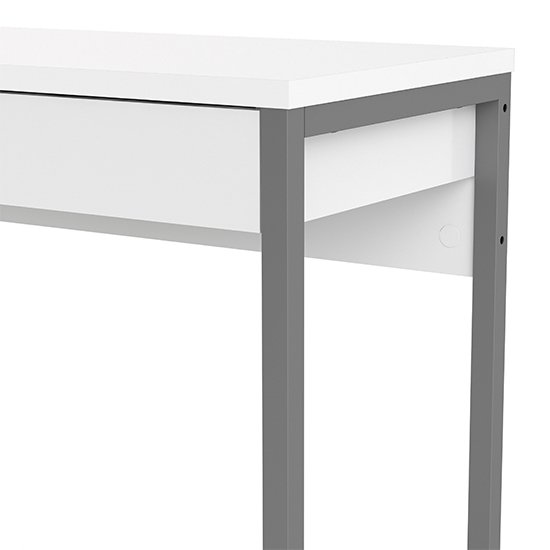 Frosk High Gloss 2 Drawers Computer Desk In White_5