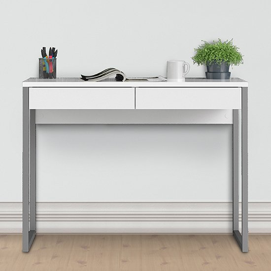 Frosk High Gloss 2 Drawers Computer Desk In White_1