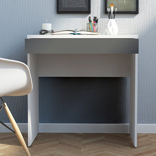 View Frosk wooden 1 drawer computer desk in white and grey