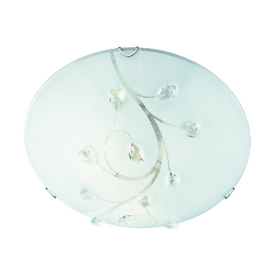 Frosted Glass 40cm Flush Light With Crysal Leaf Decoration
