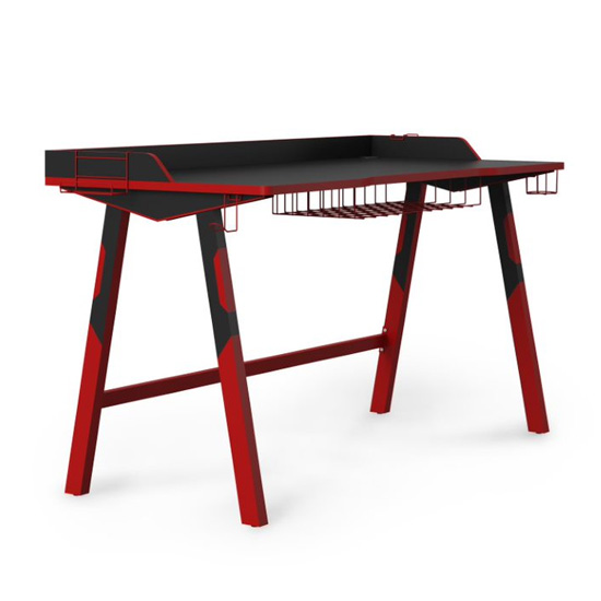 Fuego Wooden Gaming Desk In Black And Red