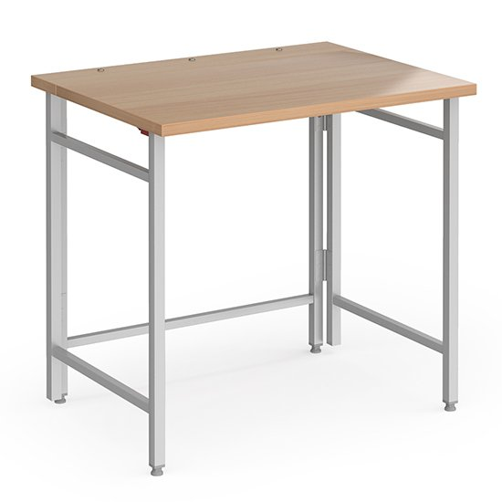 Fuji 800mm Wooden Computer Desk In Beech With Silver Folding Legs