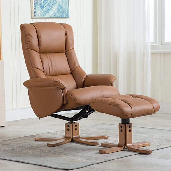 View Fula plush swivel recliner chair and footstool in tan