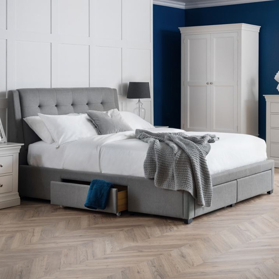 Fullerton Linen King Size Bed In Grey With 4 Storage Drawers