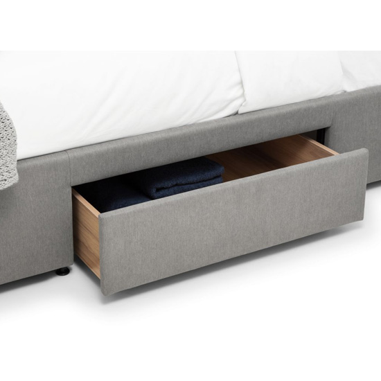 Fullerton Linen Super King Size Bed In Grey With 4 Drawers_4
