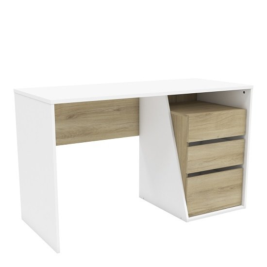 Fulton Wooden Computer Desk In Kronberg Oak And Matt White