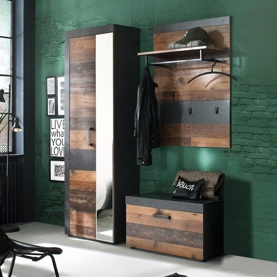 Saige Hallway Furniture Set 1 In Old Wood And Graphite Grey_1
