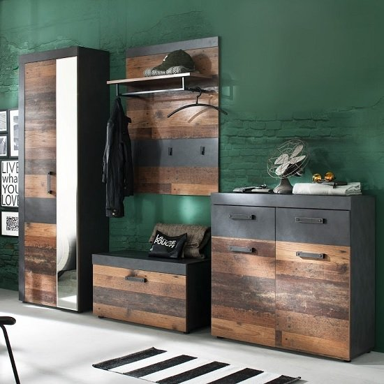 Saige Hallway Furniture Set 4 In Old Wood And Graphite Grey_1