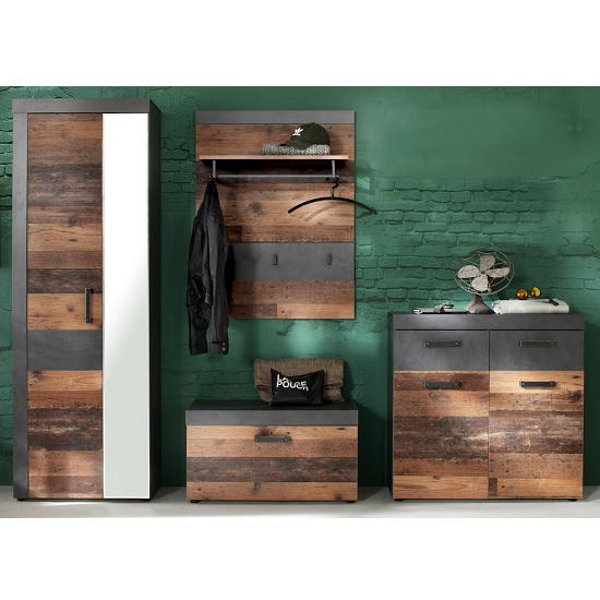 Saige Hallway Furniture Set 4 In Old Wood And Graphite Grey_2