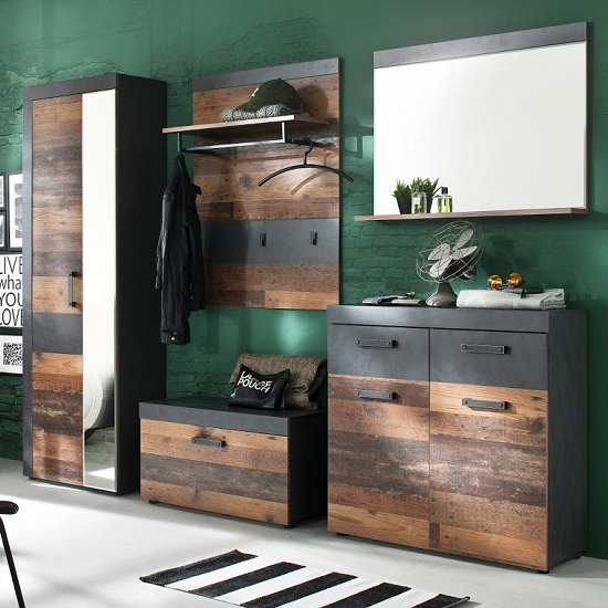 View Saige hallway furniture set in old wood and graphite grey