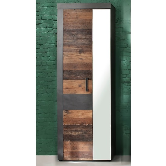 Saige Hallway Mirrored Wardrobe In Old Wood And Graphite Grey_1