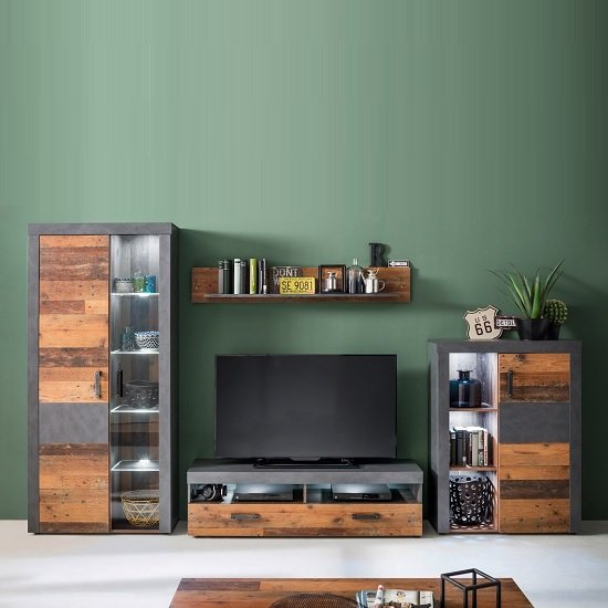 Saige Storage Cabinet In Old Wood And Graphite Grey With LED_3