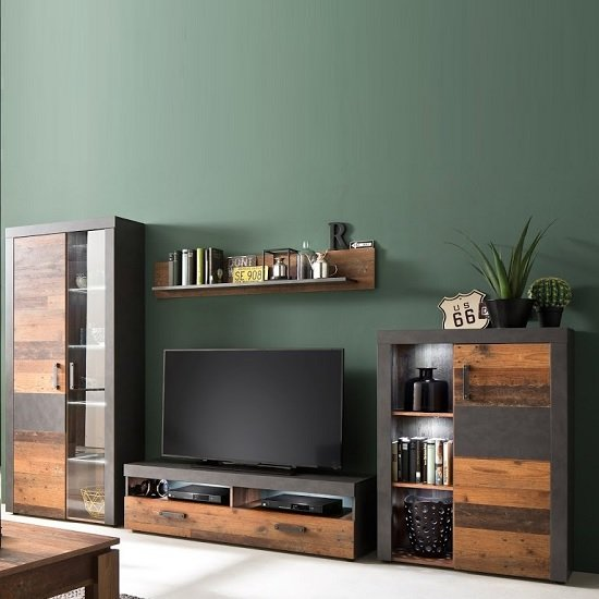 Saige Living Room Set In Old Wood And Graphite Grey With LED_2
