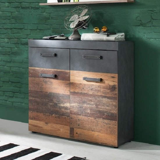 Saige Wooden Shoe Storage Cabinet In Old Wood And Graphite Grey_1