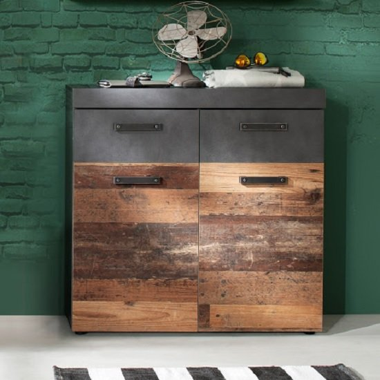 Saige Wooden Shoe Storage Cabinet In Old Wood And Graphite Grey_2