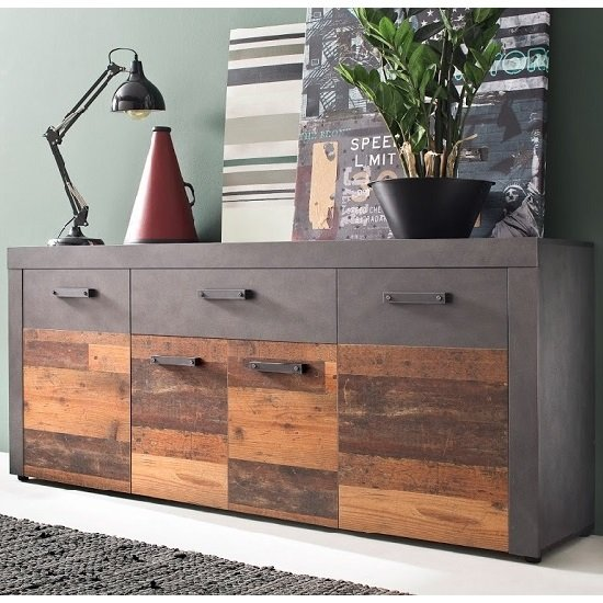Saige Sideboard In Old Wood And Graphite Grey With 4 Doors
