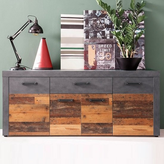 Saige Sideboard In Old Wood And Graphite Grey With 4 Doors_3
