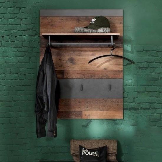 Saige Wall Mounted Coat Rack In Old Wood And Graphite Grey_2
