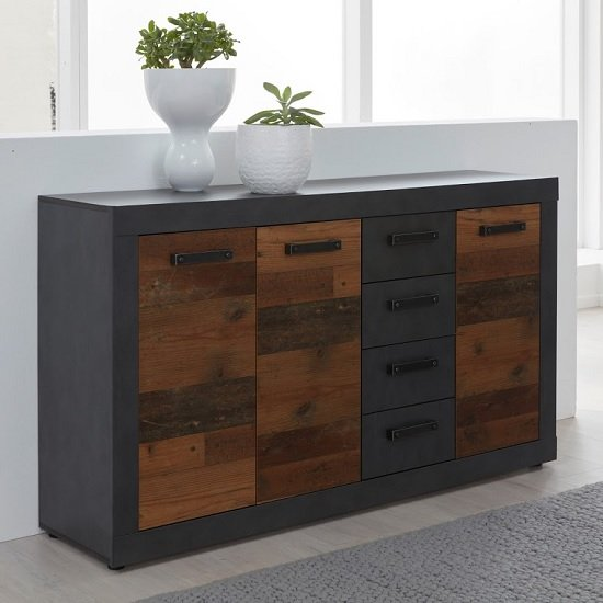 Saige Sideboard In Graphite Grey And Old Wood With 3 Doors