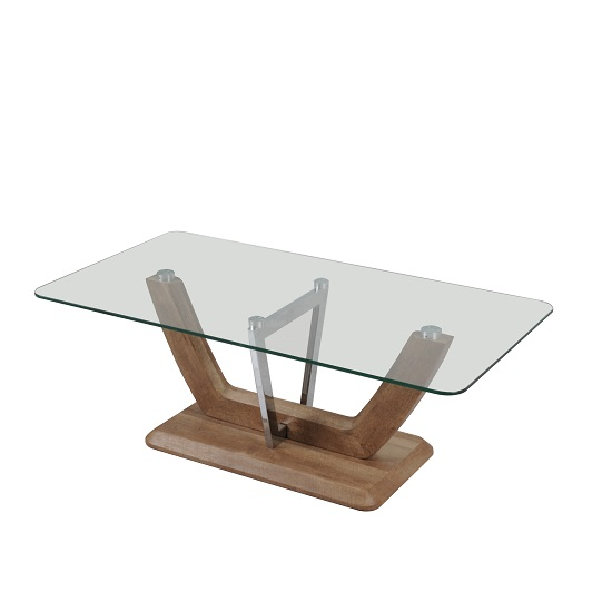 Furio Coffee Table In Clear Glass With Chrome And Wooden Base
