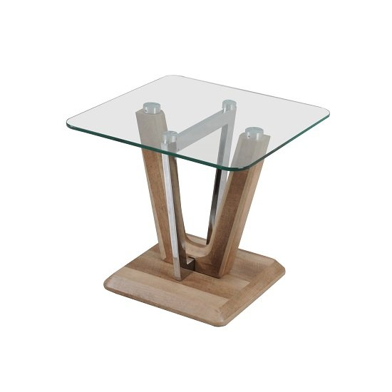 Furio End Table In Clear Glass Top With Chrome And Wooden Base