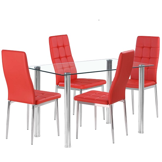 Fuse Glass Dining Table In Clear With 4 Cosmo Red Chairs