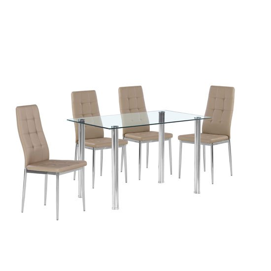 Fuse Glass Dining Table In Clear With 4 Cosmo Taupe Chairs