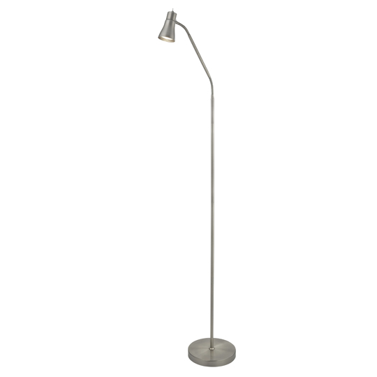 Fusion 1 Light Floor Lamp With Flexi Head In Satin Silver