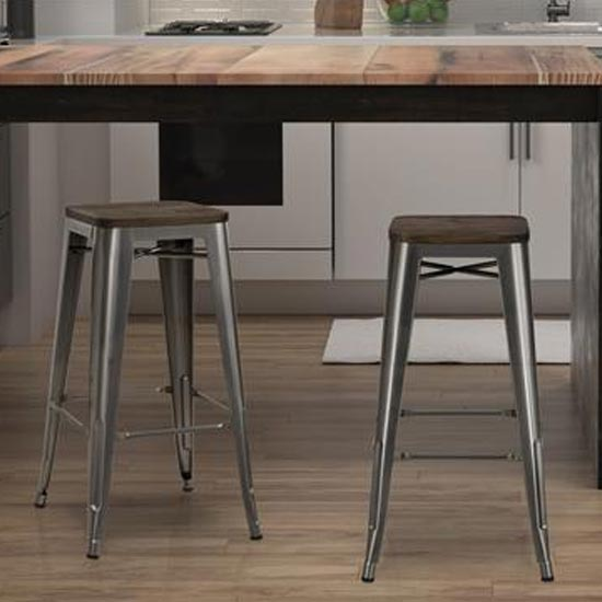 Fusion Antique Gun Metal Backless Bar Stool In Pair