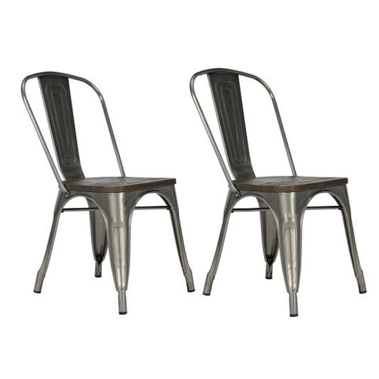 Fusion Antique Gun Metal Dining Chairs In Pair With Wood Seat