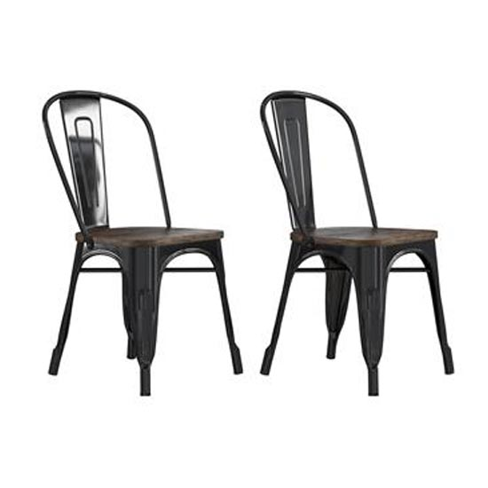 Fusion Black Metal Dining Chairs In Pair With Wood Seat
