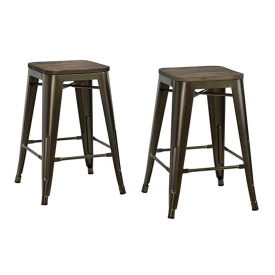 Fusion Bronze Metal Backless Counter Stool In Pair_2