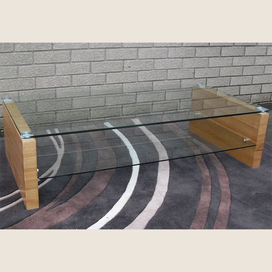 Fusion Clear Glass And Veneer Coffee Table 10992 Furniture