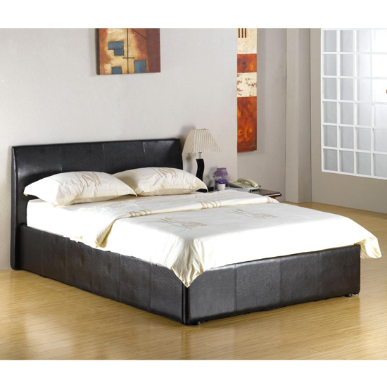 Fusion Faux Leather 4 Foot Storage Bed In Black
