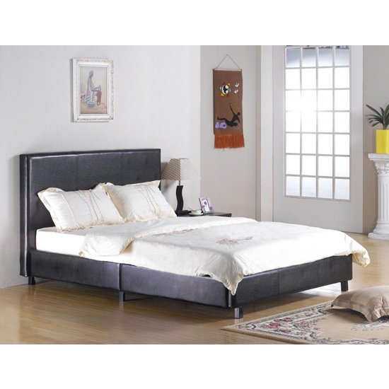Fusion Faux Leather King Size Bed In Black